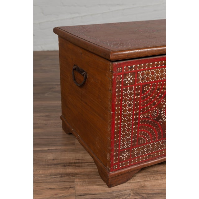 Mid 19th Century Antique Madura Blanket Chest With Inlaid Mother-Of-Pearl Red Geometric Decor For Sale - Image 5 of 13