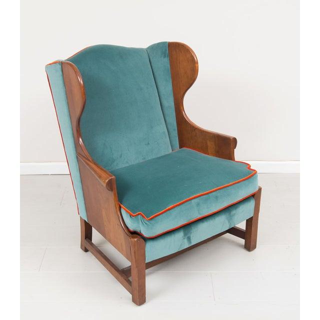 Blue Velvet Upholstered Stickley Arm Chair - Image 4 of 4