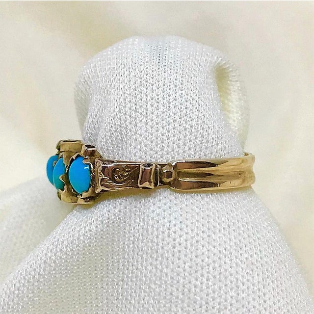 Antique 15k Gold and Turquoise Ring For Sale - Image 4 of 7