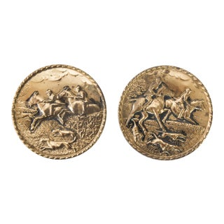 English Brass Embossed Equestrian Wall Plates - Set of 2 For Sale