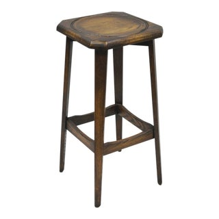 Ferguson Antique Mission Oak Wood Barstool For Sale