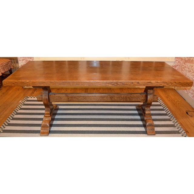 1920s French Country Trestle Farm Table For Sale - Image 5 of 10