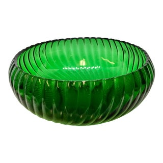1950s Swirling Green Glass Serving Bowl For Sale