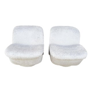 Hollywood Regency Vladimir Kagan for Directional Swivel Lounge Chairs Newly Upholstered - Pair For Sale
