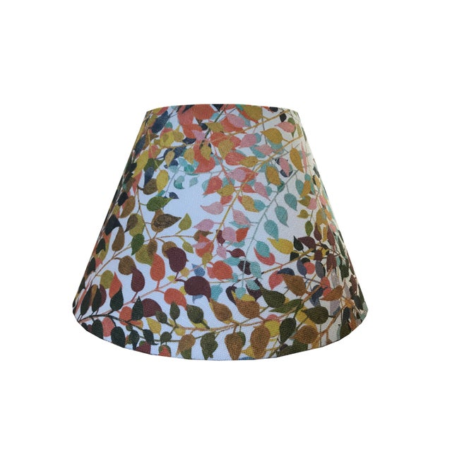 """Contemporary Confetti Leaves 18"""" Coolie Lamp Shade in Natural For Sale - Image 3 of 3"""