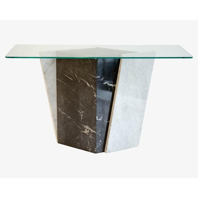 Geometric Black and White Marble Console Table With Glass Top 1980's For Sale In Chicago - Image 6 of 6