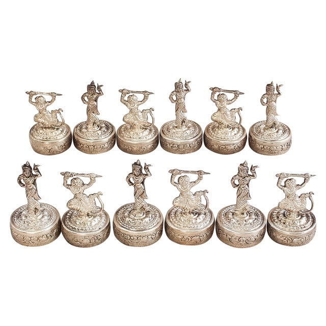 Antique Khmer Silver Place Card Holders -Set of 12 For Sale
