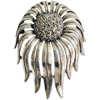 Vintage Modernist Tortoloni Signed Silver Sunflower Brooch For Sale