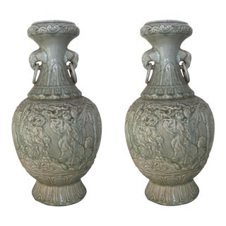 Celadon Mystical Large Chinoiserie Nymphs Vase Urns~Pair
