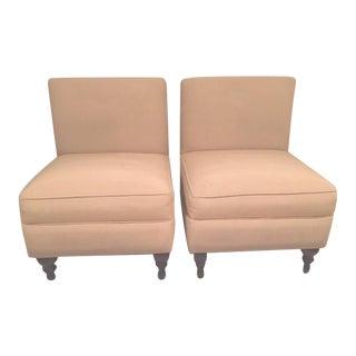 Faille Chamois Custom Slipper Chairs - a Pair For Sale