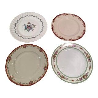 Vintage Mismatched China Dinner Plates - Set of 4