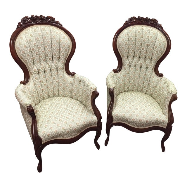 Victorian Mint Parlor Chairs - A Pair - Image 1 of 6