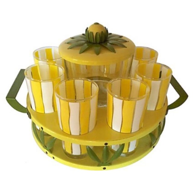 """Yellow and white beverage set with convertable tray/stand. Glasses, 2.75""""Dia x 5.5""""H. Ice bucket, 5.75""""Dia x 6.5""""H. Age..."""