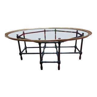 Baker Brass Glass Tray Vintage Faux Bamboo Coffee Table For Sale