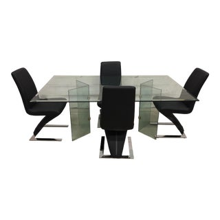 Vintage Glass Dining Table & Zig Zag Dining Chairs, Set of 5 For Sale