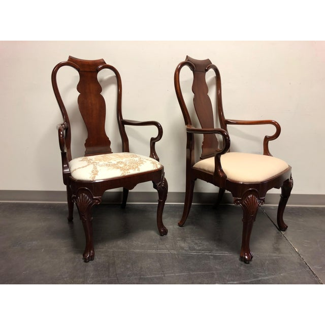 Solid Mahogany Queen Anne Dining Captain's Arm Chairs - Pair For Sale - Image 4 of 11