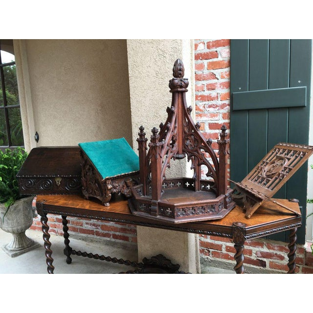 Late 19th Century Antique English Carved Oak Altar Stand For Sale - Image 9 of 11