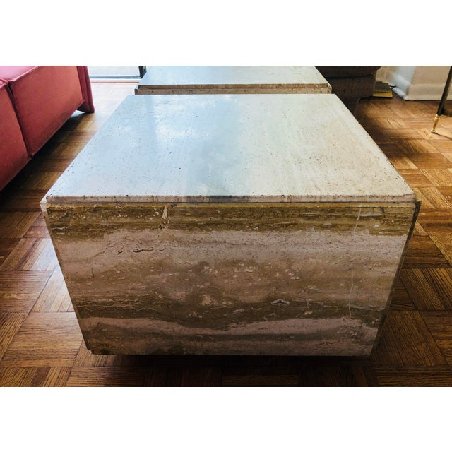Bauhaus Italian Travertine Block Tables on Plinth Bases, 1970s For Sale - Image 3 of 10