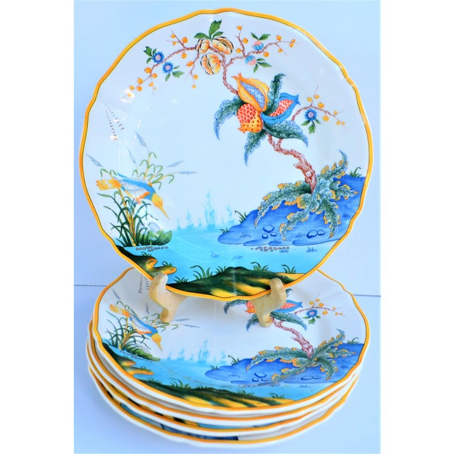 Asian Vintage French Gien Plates in Caraibes Pattern - Set of 5 For Sale - Image 3 of 9