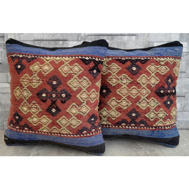 Vintage Turkish Kilim Pillow Covers - A Pair - Image 2 of 5