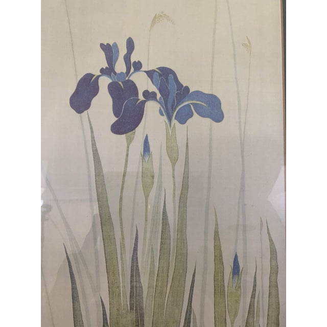 Metal Vintage Mid-Century Irises and Water Fowl Framed Japanese Print For Sale - Image 7 of 13