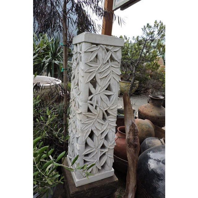 Raw stone carved rectangular garden pedestals with bamboo motif. From Bali, the objects could conceivably be hand-painted...