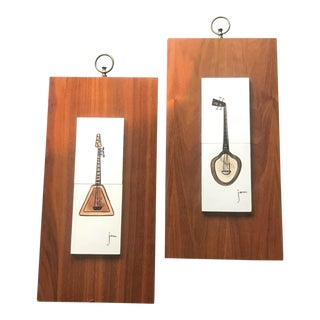 Mid Century Tile and Walnut Wall Plaques For Sale