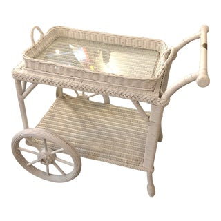 Smithsonian White Wicker Tea Service With Large Wheels For Sale