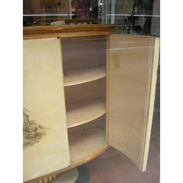 Gold 1940 Italian Parchment Cabinet or Bar With Bird's-Eye Maple Interior For Sale - Image 8 of 10