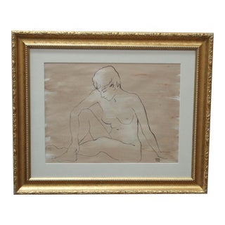 Framed Nude Woman Drawing by Ruth Hilts For Sale