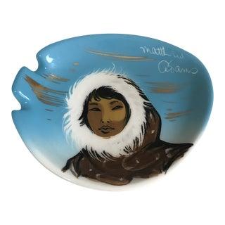 1950s Matthew Adams Sascha Brastoff 'Alaska' Signed Pottery Ceramic Ashtray Trinket Tray For Sale