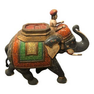 Painted Elephant and Rider on Stand For Sale