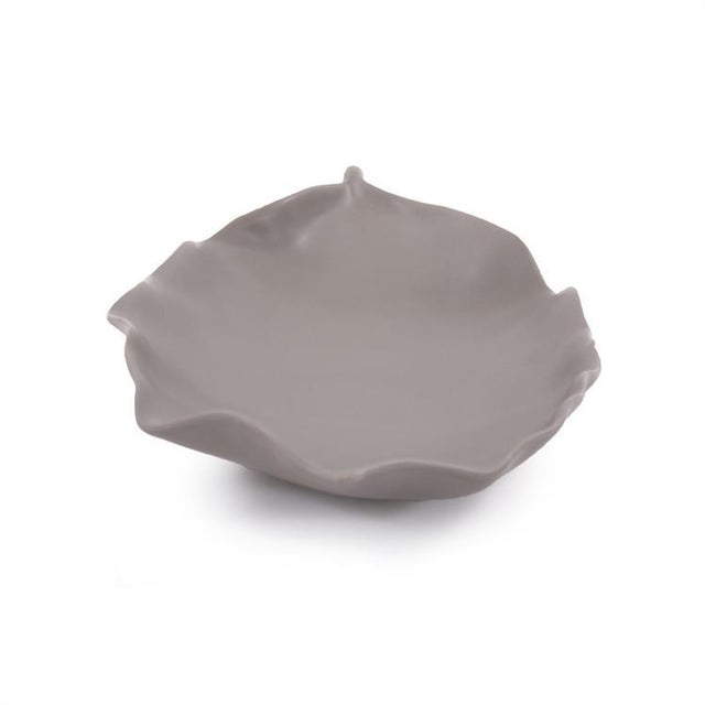 Kenneth Ludwig Chicago Kenneth Ludwig Matte Gray Ceramic Leaf Tray For Sale - Image 4 of 6