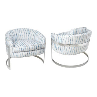 Milo Baughman Restored Chairs in Blue & White Striped Fabric - a Pair For Sale
