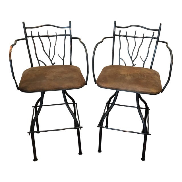Artisan Home Swivel Barstools - Pair - Image 1 of 7