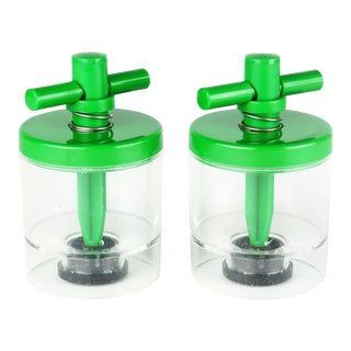 Danish Modern Bodum Green Plastic Salt & Pepper Grinders - a Pair