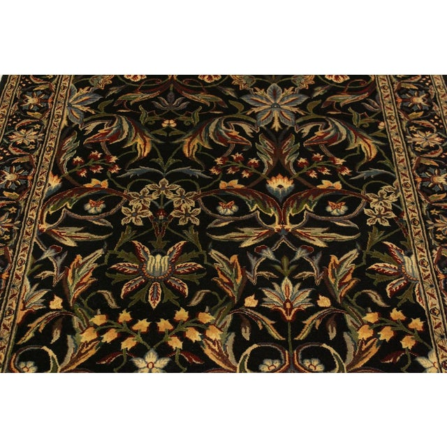 2010s Abusson Pak-Persian Mina Black/Blue Wool Rug - 4'2 X 6'2 For Sale - Image 5 of 8