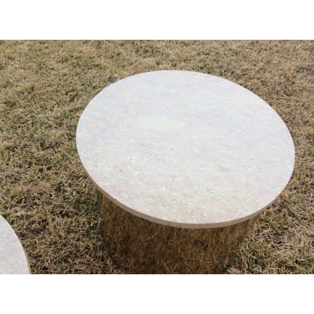 Contemporary 1970s Italian Paul Mayen Travertine Top Minimalist Cylinder Tables - a Pair For Sale - Image 3 of 9