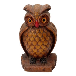 Vintage Syroco Wood Horned Owl Doorstop With Glass Eyes For Sale