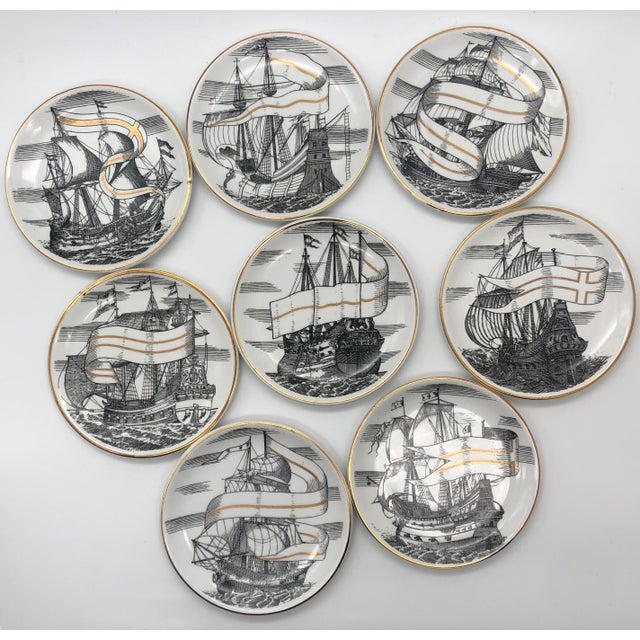 """Vintage Piero Fornasetti for Bonwit Teller Tall Ships """"Velieri"""" Coasters in good condition (no chips, breaks, or repairs)...."""