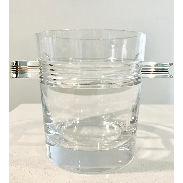 "Christofle ""Atalante"" Crystal Ice Bucket & Silverplated Ice Tongs - Image 2 of 8"