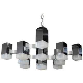 Gaetano Sciolari Mid-Century Modern Chrome Cubic Chandelier Thirteen-Light For Sale