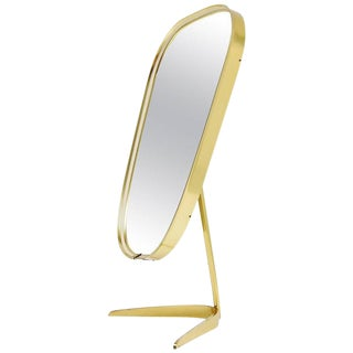 Organic Table Mirror in Brass, Italy, 1960