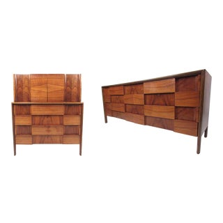 "Mid-Century Modern ""Checkerboard"" Dresser Set by Edmond Spence - a Pair For Sale"