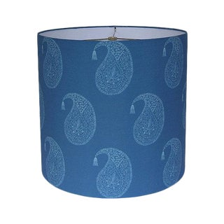 Blue Wood Block Paisley Drum Lamp Shade For Sale