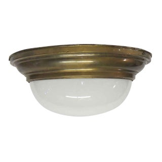 Milk Glass Dome Light Flush Mount Fixture For Sale