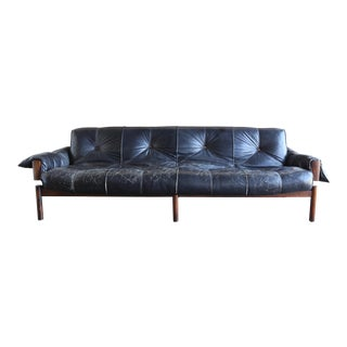 Mid Century Percival Lafer Brazilian Rosewood and Leather Sofa For Sale