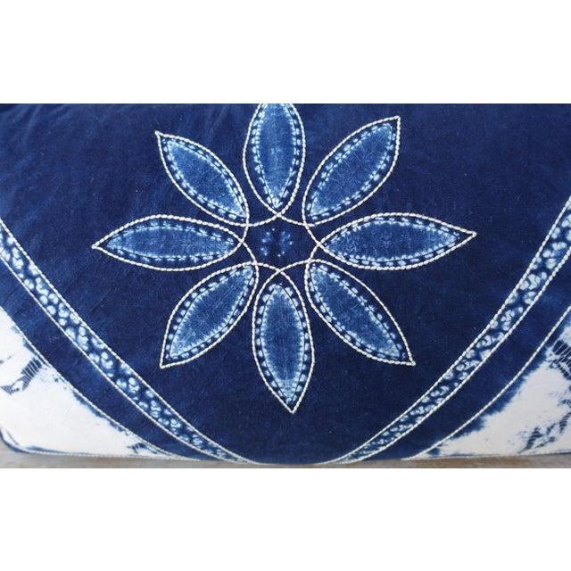 Contemporary Rectangular Blue & White Batik Floral Pillow For Sale - Image 3 of 6