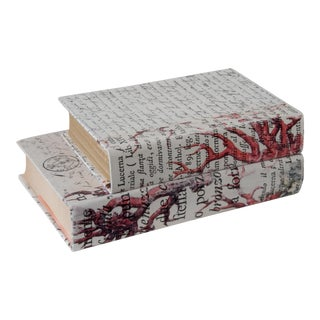 Coral Print and Script Decorative Books - a Pair For Sale
