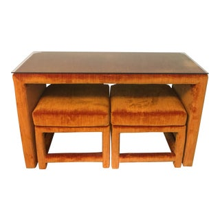 1970s Orange Velvet Console Table With Parsons Style Ottomans, Set of 3